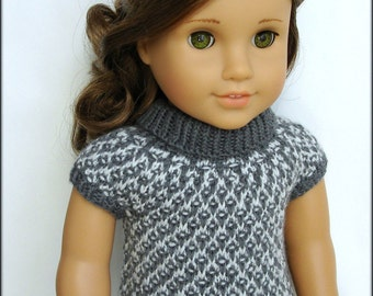 "Gwen - Slip Stitch Turtleneck With Cap Sleeves - PDF Knitting Pattern For 18"" American Girl Dolls - Instant Download"