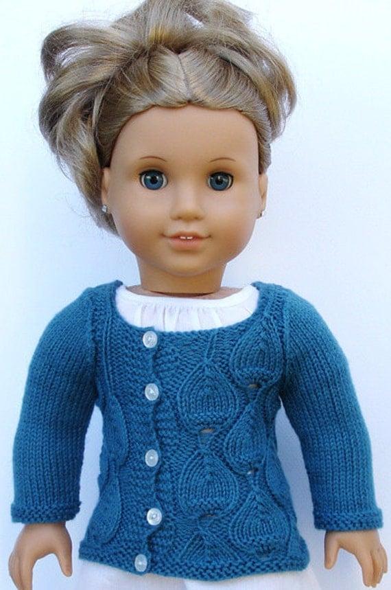 Knitting Pattern Girl Sweater : Eva Cardigan Sweater PDF Knitting Pattern For 18