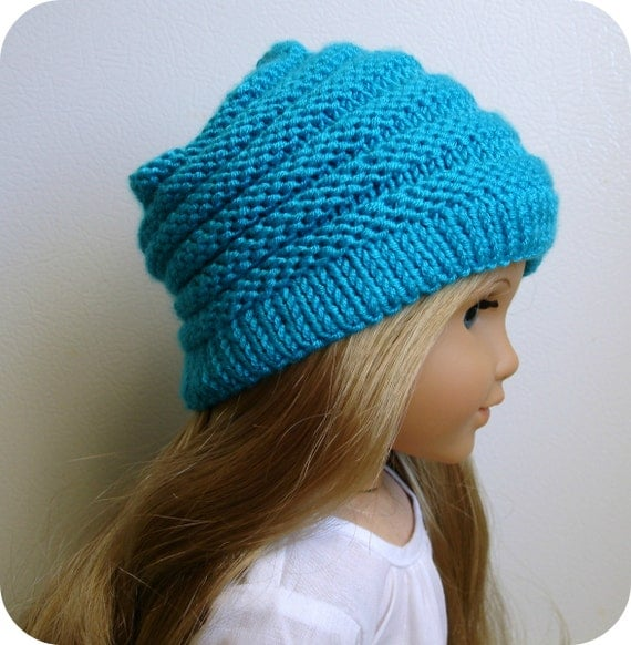 """Sophie - PDF Knitting Pattern For 18"""" American Girl Doll Slouchy Hat - Doll Clothes Pattern - Instant Download"""