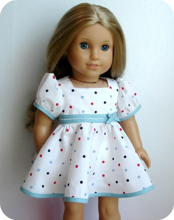 18 Inch American Girl Doll Dress - 1930's Style Polka Dot OOAK