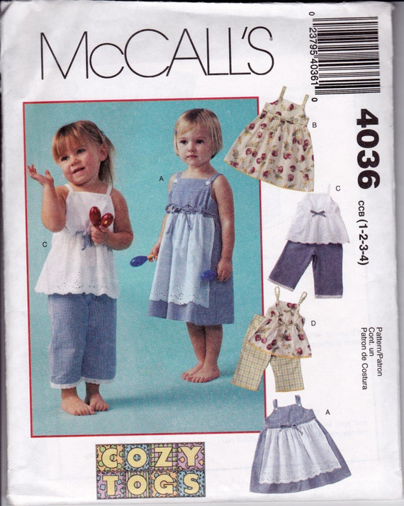 Toddler, Child's, Girl's Dresses, Tank Tops & Pants Sewing Pattern McCall's 4036 Size 1, 2, 3, 4 Sew