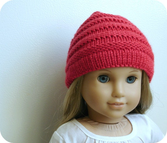 Sophie In Ruby Red - Slouchy Hat - Hand Knit For American Girl Dolls