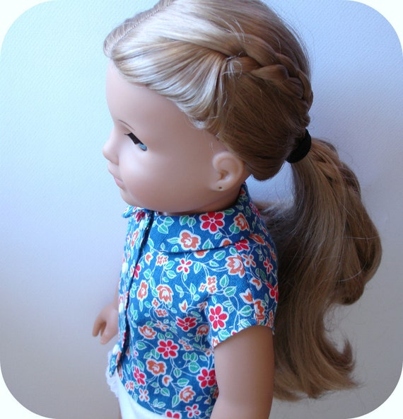 """18"""" American Girl Doll - Blue Floral Cotton Button-Up Blouse w/ Peter Pan Collar - 1930's Feedsack Print"""