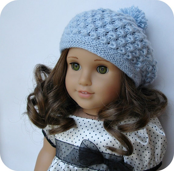 """Rosamund Beret - PDF Knitting Pattern For 18"""" American Girl Dolls - Doll Clothes Pattern - Instant Download"""