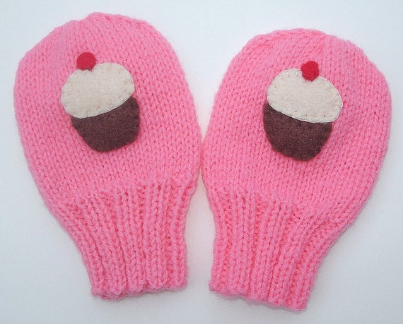 Hand knitted powder pink and slate grey baby mittens with knitted string - available to order in sizes , , and months.