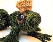 Hand Knitted Frog Prince, complete with crown