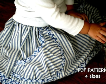 MiaLa Big Pocket Market Skirt PATTERN in 4 sizes 2T to teen (XS Adult).  PDF Printable Pattern.