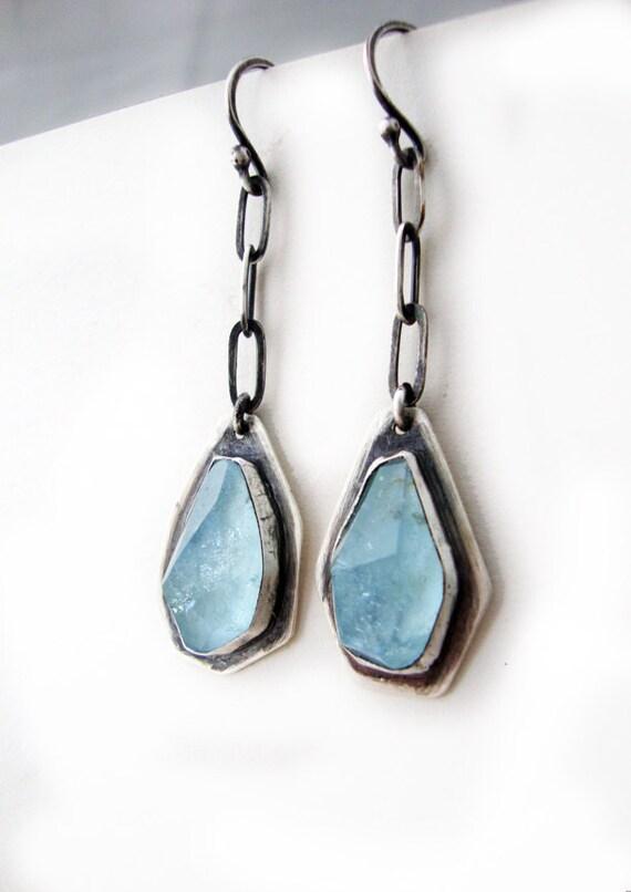 Faceted Aquamarine Earrings, Modern Random Irregular Facet Aquamarine Dangle Earrings-Caribbean Seas Earrings-MEDIUM