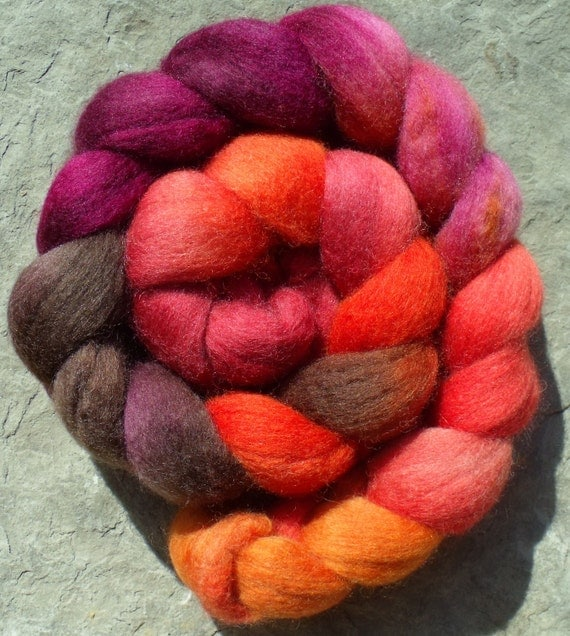 """Falkland Roving (Top) Hand Painted Spinning or Felting Fibre in """"Chachalaca"""""""