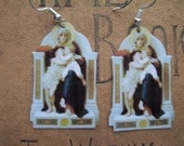 Bouguereau Virgin Mary, Infant Jesus, and John the Baptist Painting Image Cutout Earrings