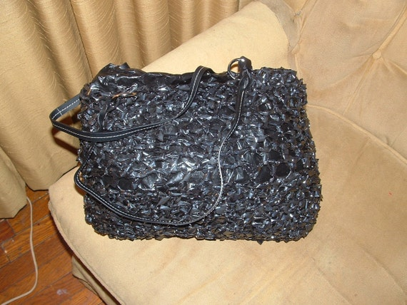 Black Recycled Crocheted VHS Tape Purse OOAK