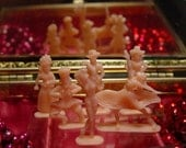 6 Tiny Plastic Pink People....Vtg 1960s Little Dolls