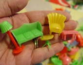 Lot of 5 Vintage 1960s Tiny Plastic Furniture...from 100 Dolls...Miniature Fun