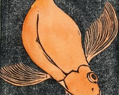 BLOOP Hand colored lino cut of fantail goldfish