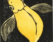 BLOOP Hand colored linocut of Fantail goldfish (yellow)