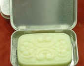Three Solid Lotion Bars in a Silver Metal Tin
