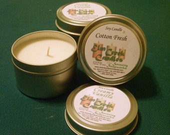 3 oz Leather Soy Wax Candle in a Silver Metal Tin