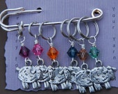 Sheep Knitting Stitch Markers with Multi-Colored Crystals