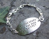 Sterling silver hand stamped bracelet with poem
