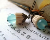 chalcedony earrings aqua vintage resin beadcaps Vintaj brass beadcaps glowing aqua blue chalcedony candies64  womens jewlery