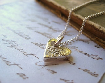 Heart charm necklace, Fine Silver Heart, Handmade heart, Sterling Silver, Chain, Valentines Day, womens jewelry candies64