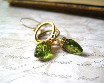 leaf earrings green leaves Fall Jewelry gold wash14k gold filled wire wrapped golden connector dangle n drop womens jewelry