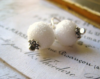 snowball earrings, lampwork beads, white sugar coated, sterling silver, fine silver, womens jewelry, winter trends holidays