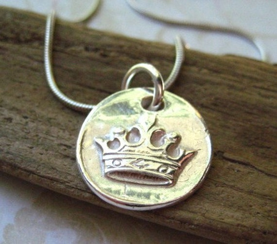 wax seal necklace handmade crown fine silver hand stamped sleek sterling silver chain womens jewelry