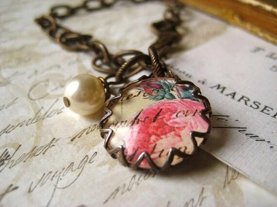 flower cabochon bracelet  vintage inspired brass flower charm pearl dangle
