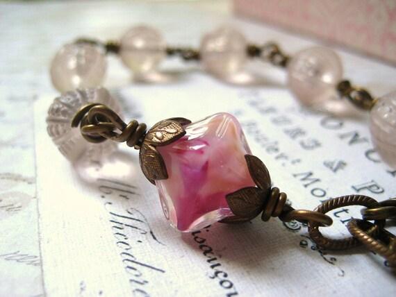 lampwork bead bracelet Sugar Sweet vintage pale pink beads Vintaj brass etched links