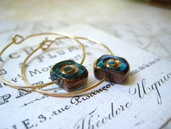 gold hoops teal turquoise bead dark copper/gold wash 14k gold filled wire womens jewelry