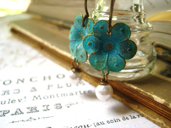 Verdigris earrings,turquoise green, green flower,white pearl dangles, womens jewelry