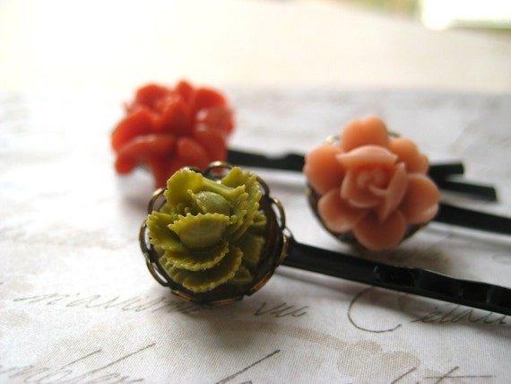 flower hairpins, set of three vintage, coral green cabbage rose pink rose, womens girls accessory