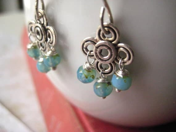 aqua earrings Gypsy Dangles sterling silver Czech glass glowing beads