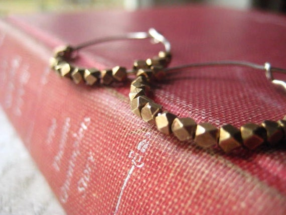 sterling silver hoops faceted solid brass nuggets