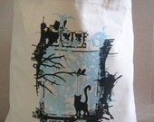 Blue Cat & Birds in Tree Cotton Hand Bag, Tote, Book Bag, Back to School, Gift Bag - Etsy