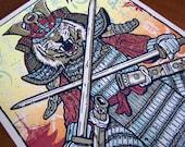 Tiger Samurai Warrior Crossed Swords Villain Art Print Silk Screen Animal Poster - Etsy