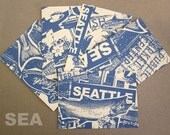 Seattle 5 Pack of Silk Screened Postards Prints Coffee Public Market Fish Space Needle Tourist Vacation Gift