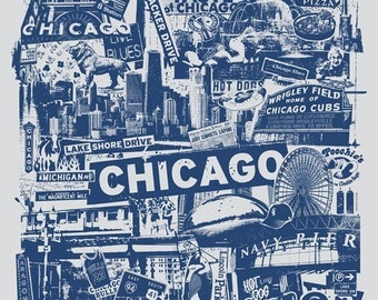 Chicago Windy City Vacation Gift Silk Screen City Art Print Poster - Etsy