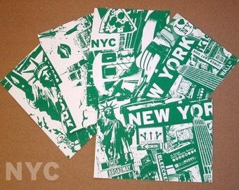 5 Pack New York City Silk Screened NYC Mini Prints Statue of Liberty Skyline Subway Taxi Cab Graffiti Green Post Cards - Etsy