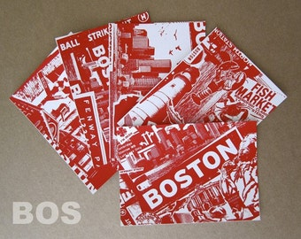 5 Pack Boston City Silk Screened Post Cards Red Sox Baseball Irish - Etsy