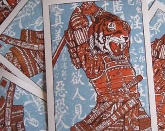 Samurai Tiger Attack Asian Japanese Vinyl Sticker- Etsy
