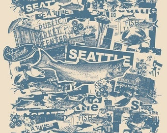 Seattle Pacific North West Vacation City Fish Collage Art Print - Etsy