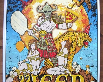 Ween Seattle Blue Variant 2011 Tuesday Is Pizza Day Silk Screened Poster