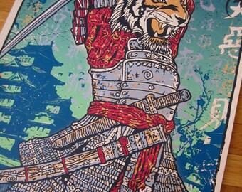 Samurai Tiger Attack Killer Japanese Chinese New Year Fighter Fantasy Art Print Silk Screen Poster - Etsy
