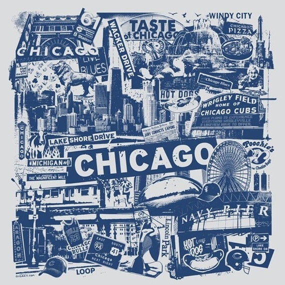 Chicago Silk Screen City Art Print Poster - Etsy