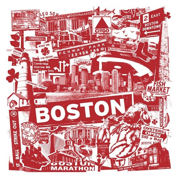 Boston Silk Screen City Art Print Poster - Etsy