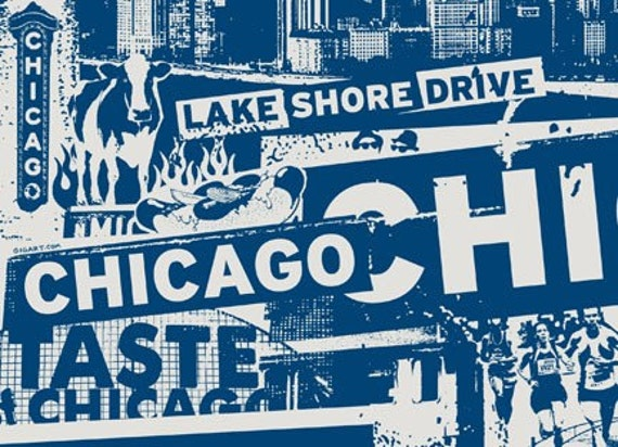 5 Pack Chicago Windy City Vacation Travel Blue Hot Dog City Silk Screened Post Cards - Etsy