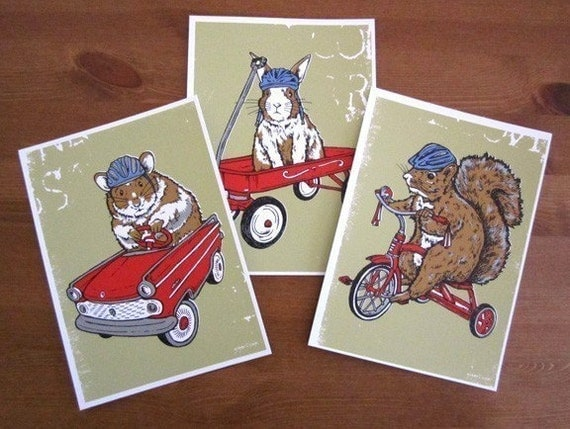 Squirrel, Hamster, Bunny Rabbit Silk Screen Cards and Prints - Etsy