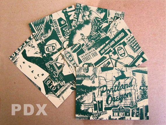 Portland Oregon Silk Screen 5 Pack Postcards Prints Bike Willamette Old Town Alberta Street Deer Bird Portlandia Collage Set - Etsy